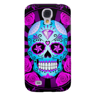 Blue and Purple Sugar Skull with Roses Poster Galaxy S4 Case