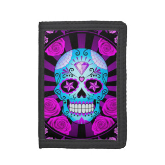 Blue and Purple Sugar Skull with Roses Poster Trifold Wallet