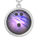 Blue and Purple Swirl Bowling Ball Pendant