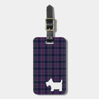 Blue and Purple Tartan Plaid with Scottie Dog Luggage Tag