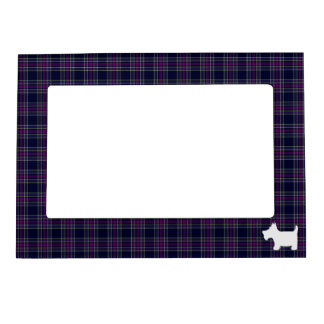 Blue and Purple Tartan Plaid with Scottie Dog Magnetic Frame