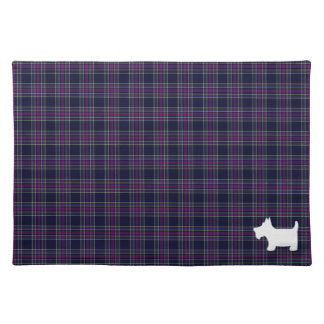 Blue and Purple Tartan Plaid with Scottie Dog Placemat