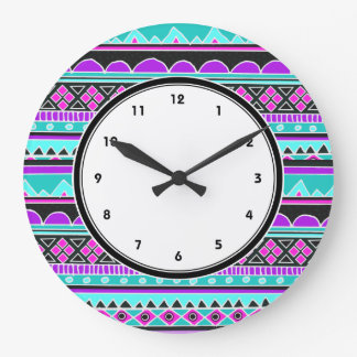 Blue and purple tribal pattern clock with numbers