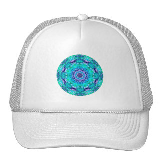 "Blue and Purple ""Tropical Waters""  Mandala Cap"