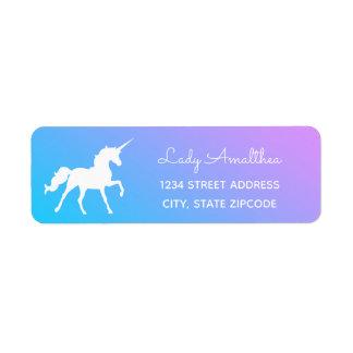 Blue And Purple Unicorn Address Label