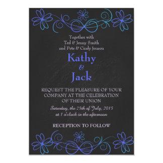 blue and purple wedding invitation