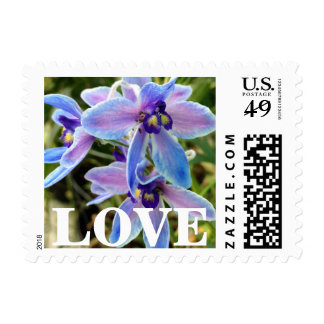 Blue and Purple Wildflower Orchid Postage Stamps