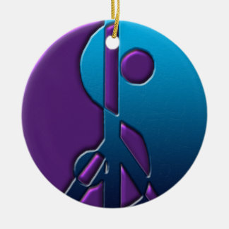 Blue and Purple Yin-Yang Peace Sign Ornament