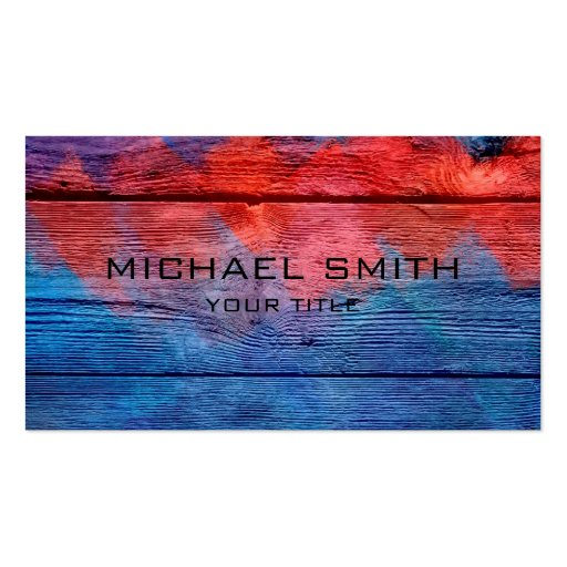 Blue and Red Acrylic Painting on Wood #2 Business Card Templates
