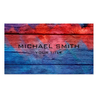 Blue and Red Acrylic Painting on Wood #2 Pack Of Standard Business Cards