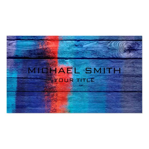 Blue and Red Acrylic Painting on Wood Business Card