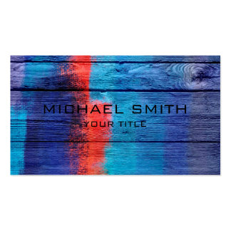 Blue and Red Acrylic Painting on Wood Pack Of Standard Business Cards