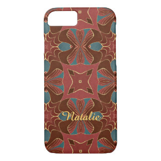 Blue and Red Arabesque iPhone 7 Case