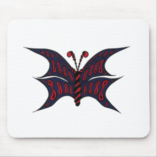 Blue and Red Butterfly Mousepad - White Background