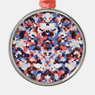 Blue and red camouflage pattern christmas ornament