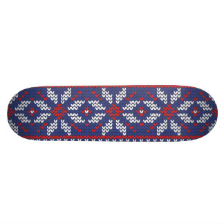 Blue and Red Christmas Abstract Knitted Pattern 21.6 Cm Skateboard Deck