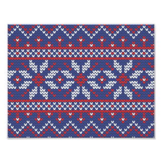 Blue and Red Christmas Abstract Knitted Pattern Photographic Print