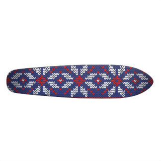 Blue and Red Christmas Abstract Knitted Pattern Skateboard Decks