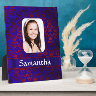 Blue and red damask photo template plaque