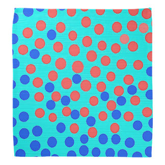 Blue and red dots on bright blue bandana