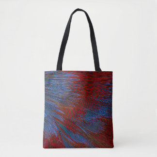 Blue And Red Feather Abstract Tote Bag