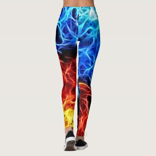 Blue and red flames, electric, electrified pattern leggings
