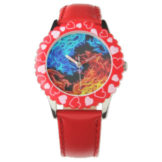 Blue and Red flames energetic pattern Wrist Watch
