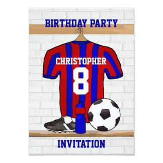 Blue and Red Football Soccer Jersey Birthday Party 13 Cm X 18 Cm Invitation Card