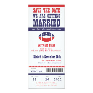 Blue and Red Football Ticket Wedding Save the Date Card