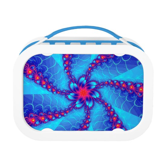 Blue and red fractal spiral lunch box