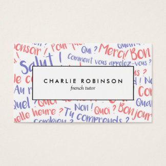 Blue and red french tutor business card