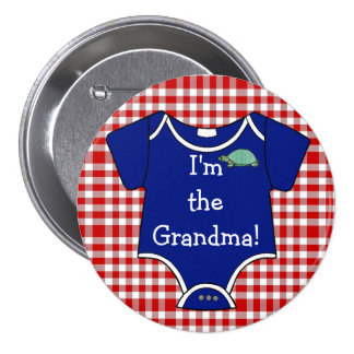 Blue and Red Gingham Turtle I'm The Grandma! 7.5 Cm Round Badge