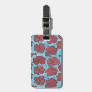 Blue and Red Hibiscus Luggage Tag