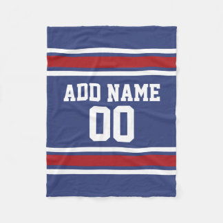 Blue and Red Jersey Stripes Custom Name Number Fleece Blanket