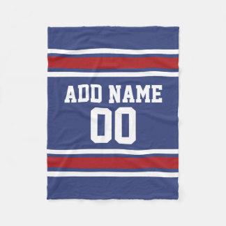 Blue and Red Jersey Stripes Custom Name Number Fleece Blanket