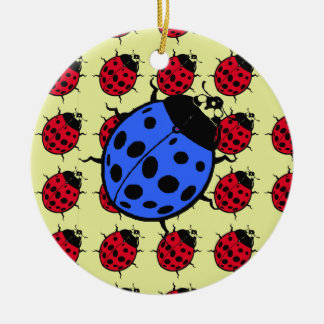 Blue and red Ladybugs Christmas Ornament