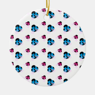 BLUE AND RED LADYBUGS ROUND CERAMIC DECORATION
