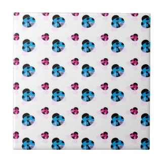 BLUE AND RED LADYBUGS SMALL SQUARE TILE
