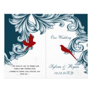 blue and red lovebirds  folded Wedding program 21.5 Cm X 28 Cm Flyer