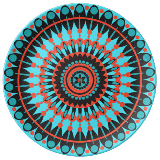 Blue and Red Mandala Decorative Plate