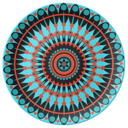 Blue and Red Mandala Decorative Plate Porcelain Plate