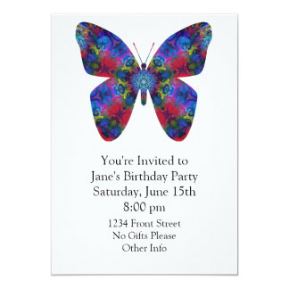 Blue and Red Mandala Fantasy Butterfly 13 Cm X 18 Cm Invitation Card