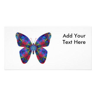 Blue and Red Mandala Fantasy Butterfly Photo Cards