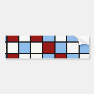 Blue and Red Mosaic Tile Pattern Gifts Bumper Sticker