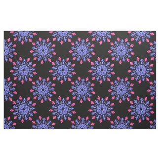 Blue and red neon flower fabric