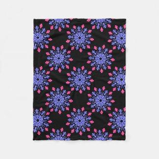 Blue and red neon flower fleece blanket