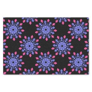 Blue and red neon flower tissue paper