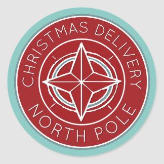 Blue and red North Pole delivery Christmas sticker
