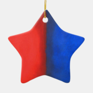 Blue and Red Pastel Conversation Ceramic Star Decoration
