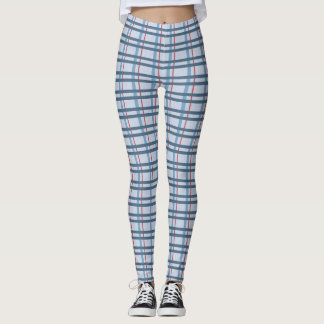 Blue and Red Plaid Pattern Leggings